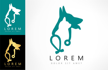 Dog, cat and stethoscope logo. veterinary care