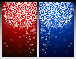 New Year Eve and Christmas background with snowflakes and snow drifts. Red and blue.