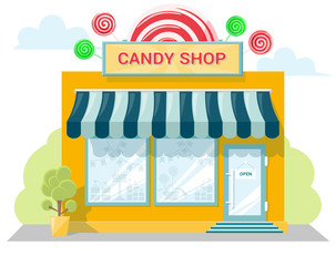 Facade candy store with a signboard, awning and products in shopwindow. Abstract image in a flat design. Front shop for concept brochure or banner. Vector illustration isolated on white background