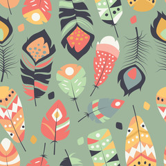 Seamless pattern with boho vintage tribal ethnic colorful vibrant feathers, vector illustration