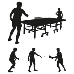 Table Tennis Vector Silhouettes