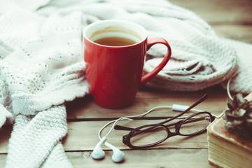 tea and earphone