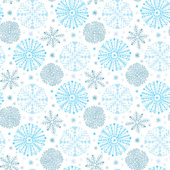 Snowflakes seamless pattern. Winter background decoration. Christmas and New Year design wrapping paper design.