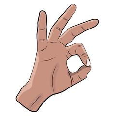 OK hand gesture vector.