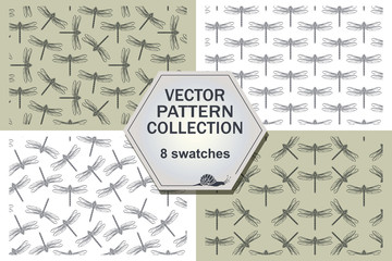 Stylish abstract dragonfly four pattern.