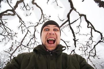 Crazy man shouting
