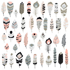 Collection of boho vintage tribal ethnic hand drawn colorful fea