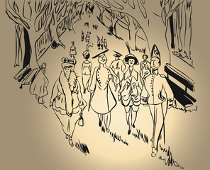Sketch of people retro ladies and men in uniform walking along the park alley