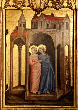 Maria incontra Elisabetta; pannello di polittico, cappella di Castel Tirolo