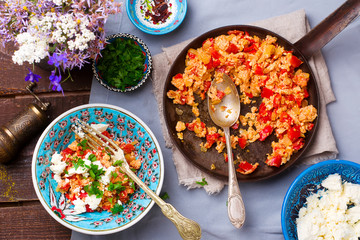 Turkish Scrambled Eggs with Tomatoes and Peppers