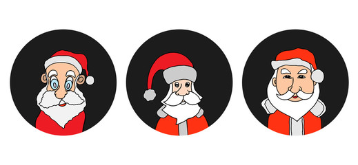 Santa Claus colorful round icons set