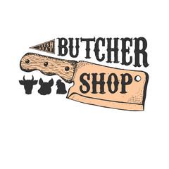 Hand drawn meat cleaver. Butcher shop emblem template. Butchery.