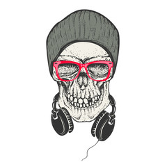 Hipster skull in hat and sunglases. Skull with headphones. Desig