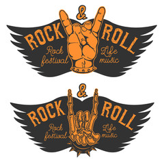 Set of the human hands with Rock and roll sign and wings. Rock a