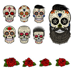 Set of sugar skulls and design elements. Day of the Dead. Skull