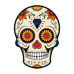 Sugar skull isolated on white background. Day of the dead.