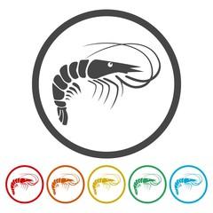 Shrimp. Single flat icon on the circle.