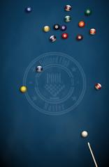 Billiard balls and cue on blue cloth. Eight American pool. Logo for the billiard club.