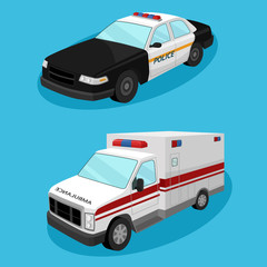 emergency services cars. Police car, ambulance