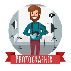 vector photographer character web icon with cameras and photo studio background