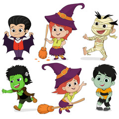 Happy Halloween. Set of cute cartoon children in colorful hallow