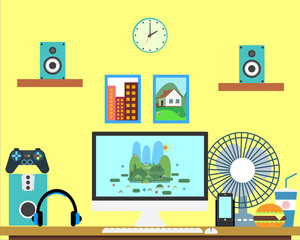 Flat workplace Web banner. Flat design gamer illustration workspace, concepts for business, management, strategy, digital marketing, finance, social network, education, training courses, e-learning