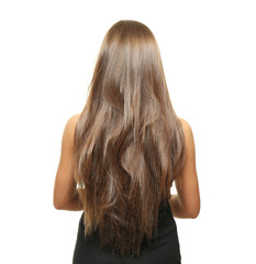 Woman with long hair on white background