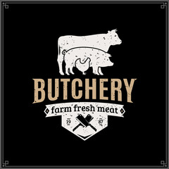 Retro styled butcher shop logo
