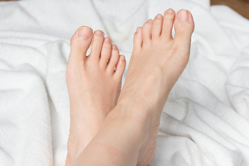 Young woman's bare feet