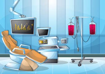 cartoon vector illustration interior surgery operation room with separated layers in 2d graphic