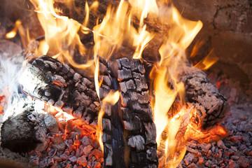 macro wood fire