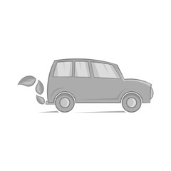 Eco car icon in black monochrome style on a white background vector illustration