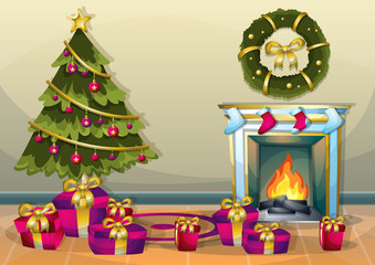 cartoon vector illustration interior Christmas room with separated layers in 2d graphic