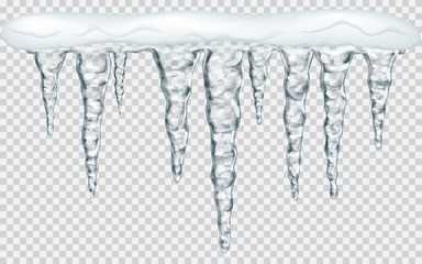 Hanging icicles with snow on transparent background. Transparency only in vector file