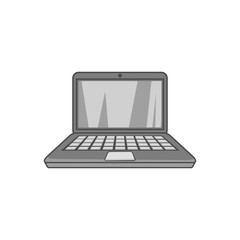 Laptop icon in black monochrome style isolated on white background. Device symbol vector illustration