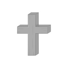 Cross icon in black monochrome style isolated on white background. Religion symbol vector illustration