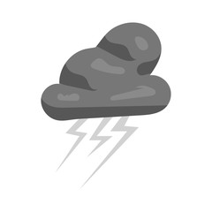 Clouds and lightning icon in black monochrome style isolated on white background. Weather symbol vector illustration