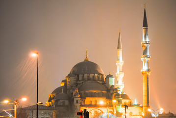 Night Turkish mosque during heavy rain