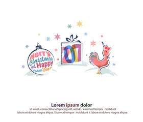 merry christmas and happy new year border in a shape of three main symbols such as