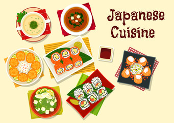 Japanese cuisine sushi and soups for dinner menu