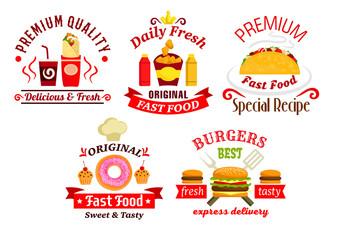 Fast food sandwich, drink and dessert badges