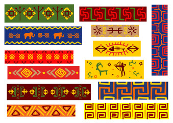 Ethnic african patterns with tribal ornaments