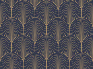 Vintage tan blue and brown seamless art deco wallpaper pattern vector