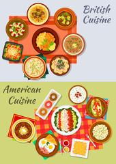 American and british cuisine icon for menu design