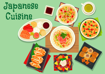 Japanese cuisine dishes icon for menu design