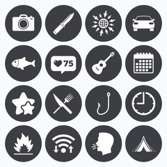 Camping travel icons. Fishing, tourist tent.
