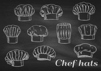 Chef toques, caps and hats chalk icons