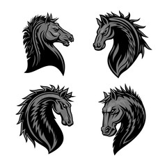 Raging stallion head heraldic icons set