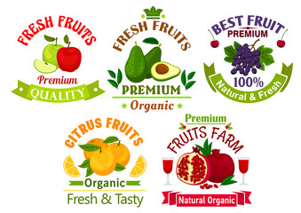 Best fresh juicy fruits stickers and labels