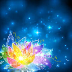 Magic shining rainbow colors esoteric flower
